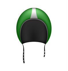 Retro motorcycle helmet in dark green design vector