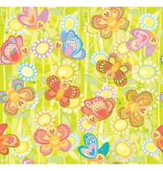 seamless cute pattern of butterflies vector image