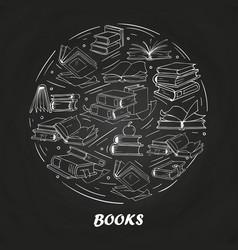 sketch books on blackboard vector image vector image