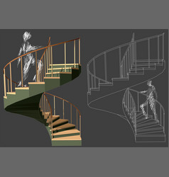 walking up stairs vector image vector image