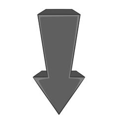 Arrow is pointing down icon monochrome style vector