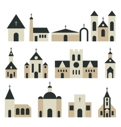 Christian church with basilica and tower vector