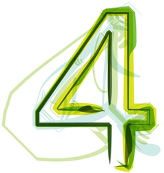 Green number 4 vector image