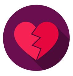 Broken heart circle icon vector