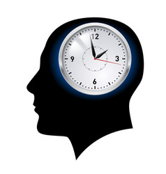Creative ideas clock in head on white vector