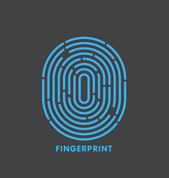 blue line fingerprint in black background vector image