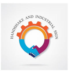Creative handshake sign and industrial idea concep vector