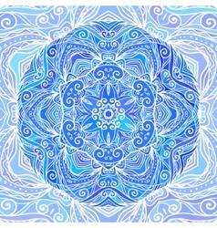 Blue ornate doodle circle background vector image