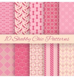 Shaby chic seamless patterns vector