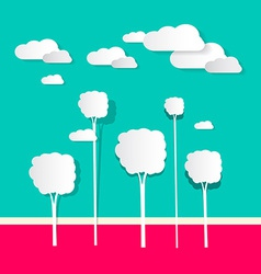 Paper clouds and trees vector