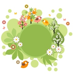 Round frame with birds and flowers vector
