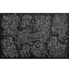Tea time doodles hand drawn chalkboard vector