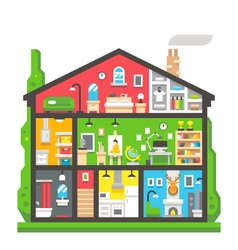 Flat design home interior side view vector