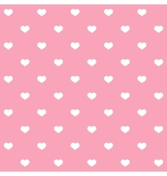 White polka dots hearts on pink background vector