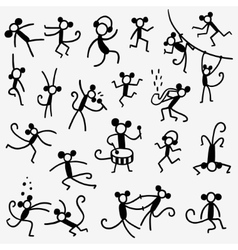 Monkeys doodles set vector