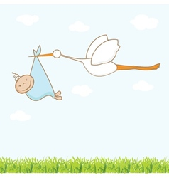 Baby arrival card with stork that brings a cute vector image