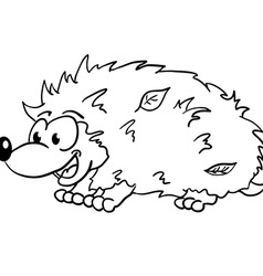 Black and white hedgehog smiling vector