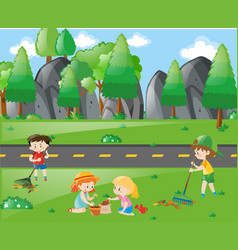 boys and girls working in the park vector image vector image