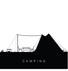 Camping nature with barbeque in black color vector