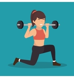 Cartoon girl holding weight gym vector