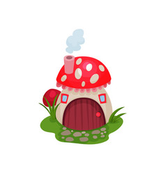 Cartoon hobbit house in form of mushroom with red vector