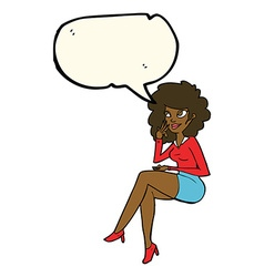 Cartoon office woman sitting with speech bubble vector