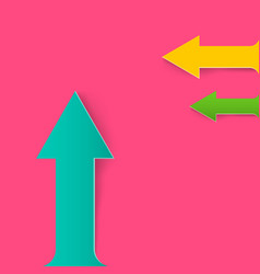 Colorful paper arrows on pink background vector