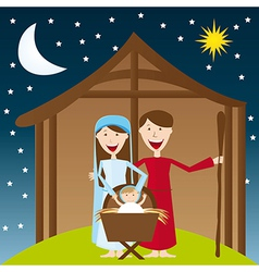Cute manger over night landscape with moon and sta vector
