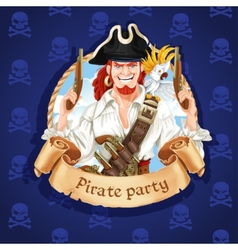 Cute pirate with parrot banner for pirate party vector