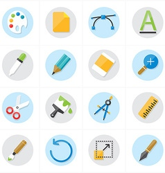 Flat icons graphic design and creativity icons vector
