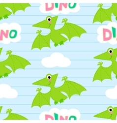 Flying dinosaur seamless pattern vector image vector image