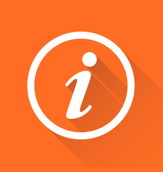 information icon in flat style isolated on orange vector image