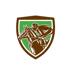 Jockey Horse Racing Side Shield Retro vector image