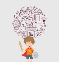 kid playing warrior with education icon vector image vector image