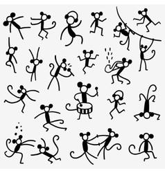 Monkeys doodles set vector