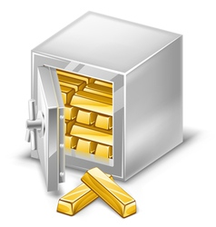 opened safe with gold ingots vector image