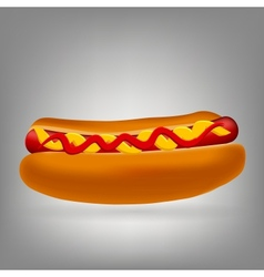 Realistic hot dog icon vector image vector image