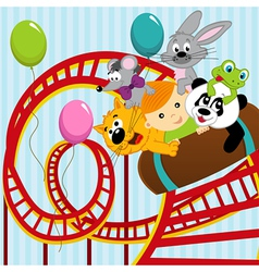 roller coaster boy and animals vector image