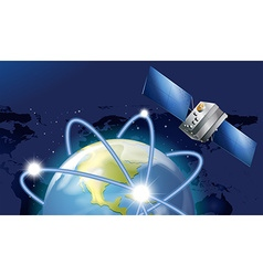 Satellite orbitting around the earth vector