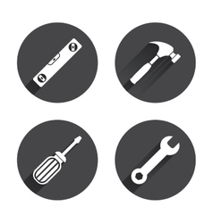 Screwdriver and bubble level hammer vector image vector image