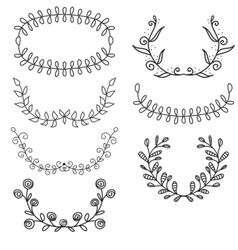 Set from laurel wreath on the white heraldic vector image