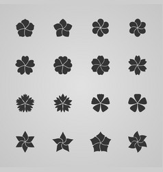 set of flower icons vector image vector image