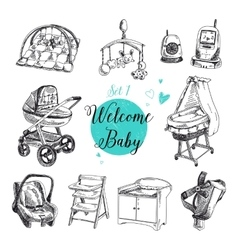 Set of highly detailed hand drawn baby vector