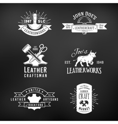 Set of vintage craft logo designs retro genuine vector image