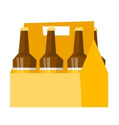 Six-pack with bottles of beer cartoon vector