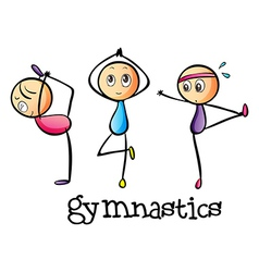 Stickmen doing gymnastics vector image vector image