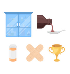 Syrup in a spoon plaster honey medical cabinet vector