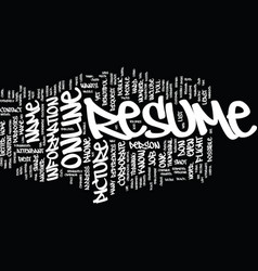 The power of an online resume text background vector