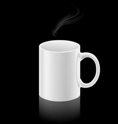 White mug on black background vector image vector image