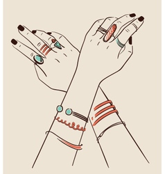 Woman hands wearing jewelry vector